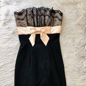 ✨ MYSTIC strapless black bow dress